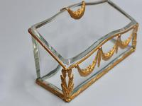 19thc Antique French Gilt Bronze Ormolu & Cut Crystal Desk Set - Letter Rack Holder, Pen / Note Tray & Pot (4 of 17)