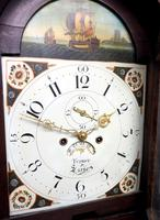 19thc English 8 Day Longcase Clock Mahogany Case Galleon Painted Dial Grandfather Clock (13 of 19)