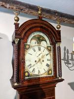 19th Cent Mahogany Moon Dial Longcase Grandfather Clock (2 of 5)