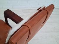 Danish armchair, cowhide, cognac leather, 1970s (12 of 20)