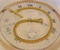 Vintage Pocket Watch Chain 1970s 12ct Gold Plated Curb Link Albert With T Bar (2 of 9)