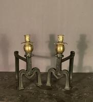Unusual Decorative French Brass & Steel Fire Dogs with Candle Sconces (3 of 8)