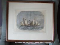 19th century engraving of The Royal Thames Yacht Club schooner match 1863 (5 of 5)