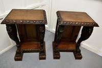Pair of 19th Century Art Nouveau Gothic Carved Oak Console Pedestals (5 of 11)