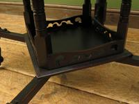 Antique Edwardian Black Painted Occasional Table, Lamp Table, Gothic Shabby Chic (9 of 13)