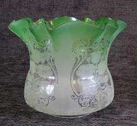 Antique Victorian Green Glass Tulip Oil Lamp Shade Globe (2 of 5)