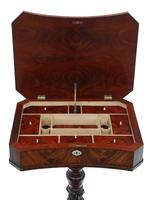 Victorian C1840 Flame Mahogany Work Side Sewing Table Box (6 of 10)