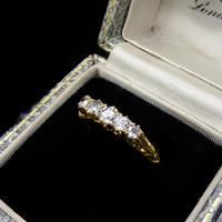 Antique Victorian Old Cut Diamond Five Stone 18K Gold Scroll Ring (3 of 10)