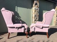Pair of Antique English Upholstered Wing Armchairs (8 of 10)