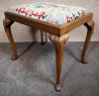 Carved Walnut Cabriole Leg Stool in the Queen Anne Style (3 of 8)