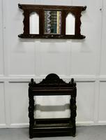 Victorian Carved Oak Stick Stand & Matching Mirror Set (4 of 9)