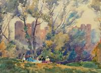 Outstanding 20thc Signed Autumn Landscape Castle Ruin Watercolour Painting (8 of 11)