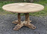 Large Round French Bleached Oak Farmhouse Table with Extensions (4 of 38)