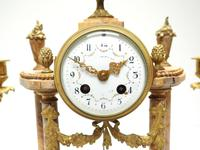 Antique 8 Day French Ormolu & Marble Mantel Clock Set with 2 Branch Candelabras (3 of 10)
