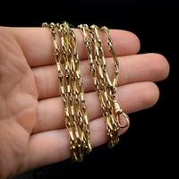 Antique Victorian 9ct 9K Gold Fancy Faceted Long Guard Muff Chain Necklace (9 of 9)