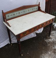1910's Maple and Co Mahogany Marble Top Washstand with Tiles (3 of 4)