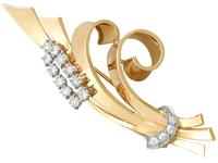 4.32ct Diamond & 18ct Yellow Gold Double Clip Brooch c.1930 (6 of 12)