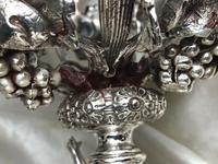 Pair English Sheffield Silver Champagne Rock Crystal Ice Cooler Cherub Vases (6 of 12)