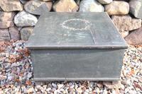 Scandinavian / Swedish 'Folk Art' original paint green/blue large table/alms/bible box raised on feet 1852 (16 of 36)