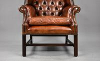 George II Style Brown Leather Hand Dyed Wingback Armchair (4 of 17)