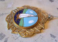 Vintage Pocket Watch Chain Fob 1940s Golden Gilt & Coloured Enamel Sailing Boat Fob (4 of 6)
