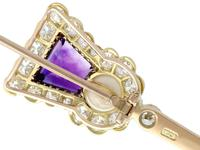 1.71ct Amethyst, 1.90ct Diamond & Pearl, 18ct Yellow Gold Thistle Pin Brooch - Antique c.1920 (6 of 9)