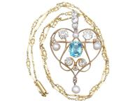 3.22ct Diamond & 2.10 ct Aquamarine, Pearl & 18ct Yellow Gold Pendant / Brooch - Antique Victorian (3 of 9)