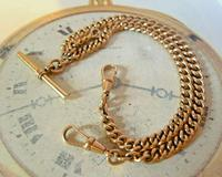 Victorian Pocket Watch Chain 1890s Antique 12ct Rose Rolled Gold Albert & T Bar (3 of 10)