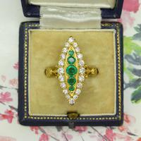 Vintage 18ct Gold Emerald & Diamond Marquise / Navette Cluster Ring c.1920s ~ With Independent Appraisal Valuation (5 of 9)