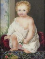 1831 Miniature Portrait Young Girl Holding a Flower by Mary Frederica Glyn (2 of 4)
