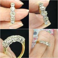 Vintage 18ct Old Mine Cut Diamond Five Stone Ring 1.35ct (8 of 10)