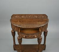 Demi Lune Carved Oak Hall Table (4 of 5)