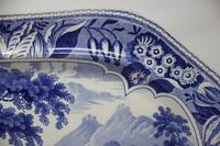 Antique Blue & White Pearlware Parkland Scenery Platter (8 of 12)