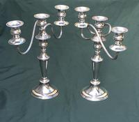 Pair of Edwardian Silver Plate on Copper Three Branch Candelabra (4 of 8)
