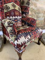 Kilim Covered Wingback Armchair on Ball & Claw Feet (8 of 9)