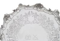 """Antique Victorian Sterling Silver 13"""" Tray / Salver 1850 (2 of 9)"""