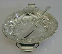 Art Deco English Solid Sterling Silver & Glass Butter Dish 1936 / 37 (8 of 12)