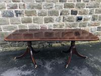 Antique Mahogany Twin Pillar Extending Dining Table (2 of 9)