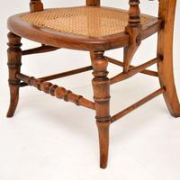 Antique Victorian Carved & Cane Seated Armchair (9 of 11)