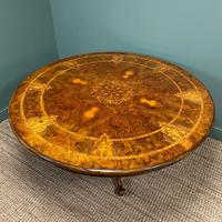 Large Figured Walnut Circular Antique Dining Table (2 of 8)