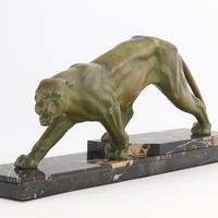 Large French Art Deco Patinated Spelter Prowling Panther on Marble Base c1925 (9 of 9)