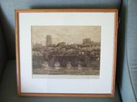 Walter W Burgess Etching of Elvet Bridge, Durham 1883 (2 of 5)