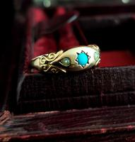 Antique Turquoise & Pearl Ring, 9ct Gold (11 of 11)