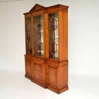 Antique Burr Walnut Breakfront Bookcase / Display Cabinet (4 of 10)