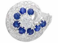 1.05ct Sapphire & 1.45ct Diamond, 18ct White Gold Dress Ring - Vintage c.1950 (4 of 9)