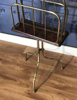 Victorian Brass & Oak Revolving Paper Rack by William Tonks (7 of 7)