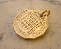 Vintage Pocket Watch Chain Fob 1966 Queen Elizabeth Threepenny 3d Coin Fob (3 of 7)