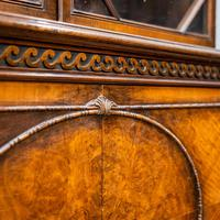 Mahogany & Burr Walnut Glazed Bookcase (6 of 11)