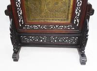 Antique Chinese Screen Hardwood Brass Plaque Circa 1890 (5 of 15)