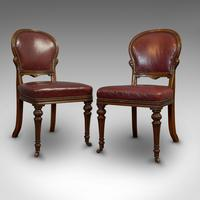 Pair of Antique Chairs, Walnut, Leather, Seat, Doveston, Bird & Hull, Victorian (7 of 12)